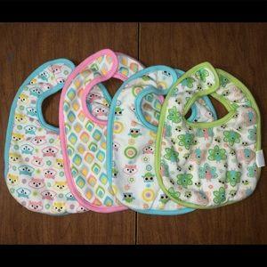 Hudson Baby 4 Piece Bib Set EUC 🦊 🦚 🦉 print